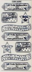 Zier-Sticker-Bogen-Frohe Weihnachten-Label 2-transparent/silber-W3702trs