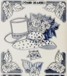 Zier-Sticker-Bogen-Hut- Zylinder--Blumen/Ecken-transparent/silber-6428trs