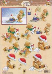3D-Bogen- Popcorn the Bear - Weihnachten - PTB 1147 - Wunschzettel / Einkauf