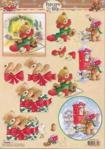 3D-Bogen- Popcorn the Bear - Weihnachten - PTB 1148 - Weihnachtspost / vorm Kamin