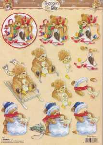 3D-Bogen- Popcorn the Bear - Weihnachten - PTB 1163 - Schlittenfahrt