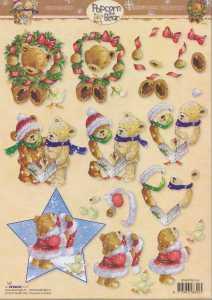 3D-Bogen- Popcorn the Bear - Weihnachten - PTB 1164 - Chor / Stern