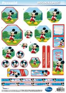 3D Pyramiden-Bogen-Disney-Mickey Mouse-Happy Birthday-Holographic--PYR DIS126