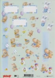 3D Etappen-Bogen -Baby-Boy-Hase-Bollerwagen-Pickup 108