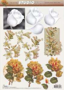 3D Bogen-Weiße Rose, Lilie, Gelbe Rose-STSL-1084