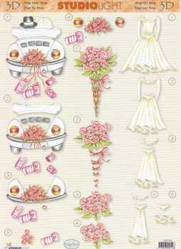 3D-Etappen-Bogen- Hochzeit - Brautstrauß - Auto - Kleid- STSL254