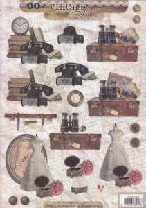 3D-Etappen-Bogen-Vintage Line-Nostalgische Motive-Telefon-Kleid-Koffer -STSL 1309