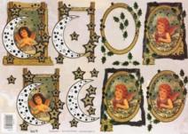3D Etappen-Bogen-TBZ 572543-geprägt-nostalgische Engel-gold verziert