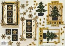 3D Bogen-geprägt-Sterne/Tannenbäume-gold verziert-TBZ.572456
