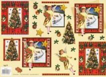 3D Bogen-geprägt-Baum/ Engel-gold verziert-TBZ.572460