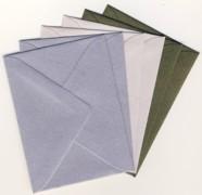 6 Brief-Umschläge/Kuverts-U-014-Minikarten-satieniert-3 Farben