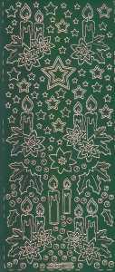 Zier-Sticker-Bogen-W 0285grg-Advent-Kerzen-grün-gold