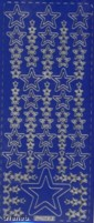 Zier-Sticker-Bogen-verschiedene Sterne-blau/gold-W-315blg