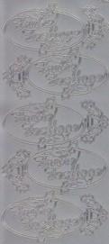 Zier-Sticker-Bogen-Frohe Festtage-im Oval-silber-W-1533s