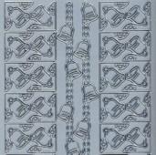 Zier-Sticker-Bogen-Ecken /Ränder-Glocken-silber-W1761s