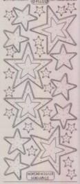 Zier-Sticker-Bogen-Sterne-transparent/silber-W3214trs