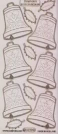 Zier-Sticker-Bogen-Weihnachts-Glocken-transparent/gold-W-3220trg