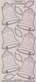 Zier-Sticker-Bogen-Weihnachts-Glocken-transparent/silber-W-3220trs