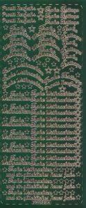 Zier-Sticker-Bogen-Frohe Weihnachten-Frohe Festtage-grün/gold-W314grg