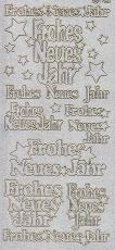 Diamant-Zier-Sticker-Bogen-Frohes neues Jahr-diamant/silber-W-1568ds