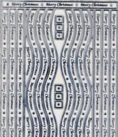 Zier-Sticker-Bogen-Ränder-Welle-Merry Christmas-transparent/silber-W2705trs
