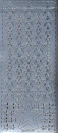 Zier-Sticker-Bogen-verschiedene Sterne-silber-W-315s