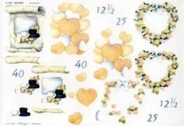 3D Etappen-Bogen-Herzen/ Hut und Zylinder/ Blütenherz -WEBO428