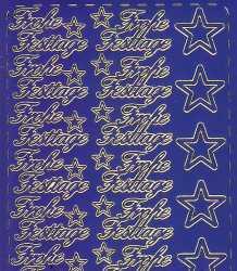 Zier-Sticker-Bogen-Frohe Festtage-blau/gold-W319blg