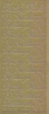 Zier-Sticker-Bogen-Frohe Festtage-gold-W 0464g