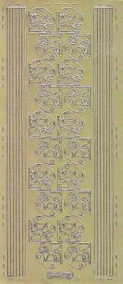 Zier-Sticker-Bogen-Ecken / Ränder-Glocken-gold-W 0570g