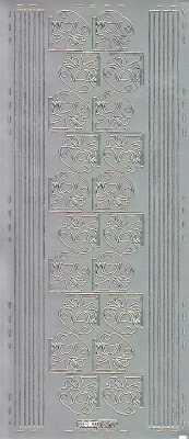 Zier-Sticker-Bogen-Ecken / Ränder-Glocken-silber-W 0570s