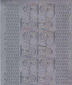 Zier-Sticker-Bogen-Ecken / Ränder-Kugeln-silber-W 0571s