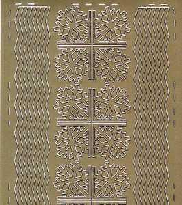 Zier-Sticker-Bogen-Ecken / Ränder-Eiskristalle-gold-W 0572g