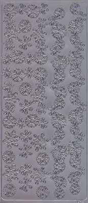 Zier-Sticker-Bogen-Ecken / Ränder / Bordüren-Eiskristalle-silber-W 1876s