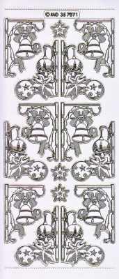 Gravur-Sticker-Bogen-Weihnachten-Ecken-Kugeln-Glocken-transparent-gold-W-7071trg