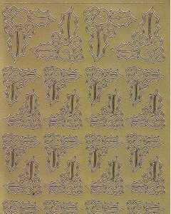 Zier-Sticker-Bogen-Ecken-Ilex-gold-W 8534g