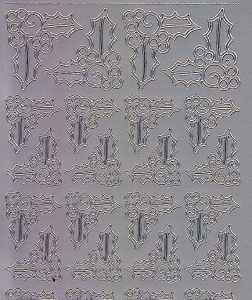 Zier-Sticker-Bogen-Ecken-Ilex-silber-W 8534s