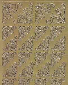 Zier-Sticker-Bogen-Ecken-Glocken-gold-W 8535g