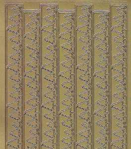 Zier-Sticker-Bogen-Ränder/Bordüren/Tannen-gold-W 8541g