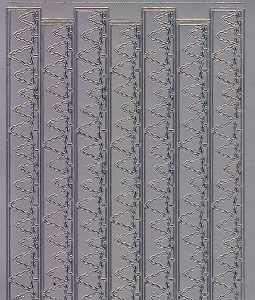 Zier-Sticker-Bogen-Ränder/Bordüren/Tannen-silber-W 8541s