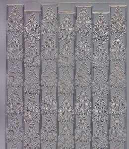 Zier-Sticker-Bogen-Ränder/Bordüren/Tannenbäume-silber-W 8542s