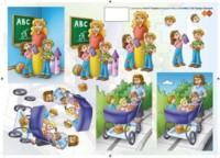 3D Etappen-Bogen-CD 10002-Einschulung-Lehrerin-Kindermädchen