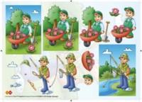 3D Etappen-Bogen-Gärtner und Angler -Card Deco- CD 10005