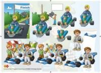3D Etappen-Bogen-Gokart und Rennfahrer -Card Deco- CD 10008