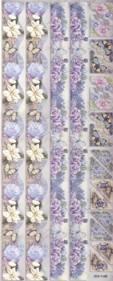 Geprägte Foliensticker-112-selbstklebend-Rosenränder und Ecken mit Glitter-hellblau/flieder