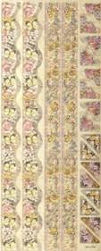 Geprägte Foliensticker-120-selbstklebend-Schmetterling und Blumenränder und Ecken mit Glitter