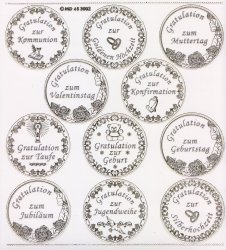 XXL Gravur-Sticker-Bogen-Plaketten-Glückwünsche-transparent-gold-GR 3002trg