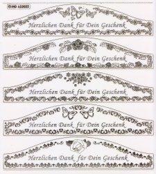 XXL Gravur-Sticker-Bogen-Texte-Grüße / Glückwünsche-transparent-gold-GR 3022trg