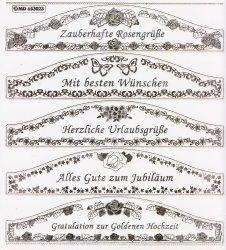 XXL Gravur-Sticker-Bogen-Texte-Grüße / Glückwünsche-transparent-gold-GR 3023trg