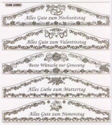 XXL Gravur-Sticker-Bogen-Texte-Grüße / Glückwünsche-transparent-gold-GR 3024trg